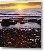 Sunset Over Water, Newfoundland, Canada Metal Print