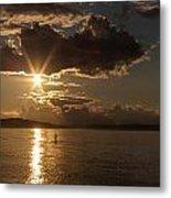 Sunset Paddleboarder Metal Print