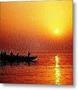 Sunset Rowing Metal Print
