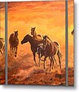 Sunset Run Triptych Metal Print
