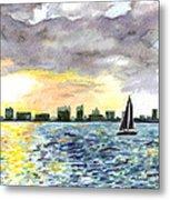 Sunset Sail Metal Print