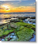 Sunset Siesta Key Rocks Metal Print by Jenny Ellen Photography