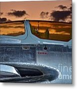 Sunset Through The Cockpit Metal Print by Lynda Dawson-Youngclaus