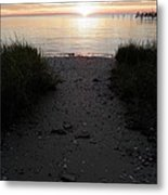 Sunset Through The Grass Cape Charles Virginia Metal Print