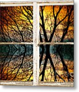 Sunset Tree Silhouette Abstract Picture Window View Metal Print