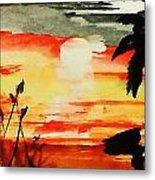 Sunset Under The Palm Tree Metal Print
