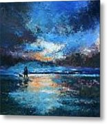 Sunset Walkies Metal Print