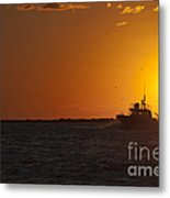 Sunset With Fishing Boat At Sea Metal Print