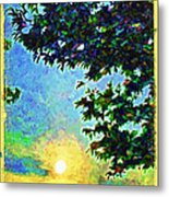 Sunset With Leaves Metal Print