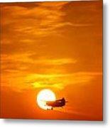 Sunset With Plane Metal Print