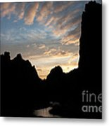 Sunset With Rugged Cliffs In Silhouette Metal Print