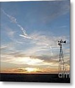 Sunset With Windmill Metal Print
