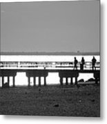 Sunsets On Coney Island In Black And White Metal Print