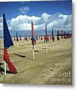 Sunshade On The Beach. Deauville. Normandy Metal Print by Bernard Jaubert