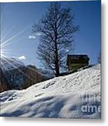 Sunshine Over The Snow Metal Print