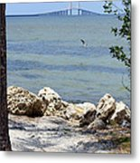 Sunshine Skyway From The Causeway Metal Print