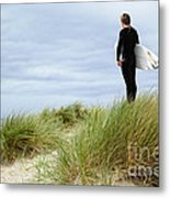Surfer At The Beach Checking Out The Ocean Waves Metal Print