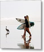 Surfers And A Pelican Metal Print