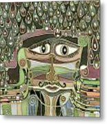 Surprize Drops Surrealistic Green Brown Face With  Liquid Drops Large Eyes Mustache  Metal Print