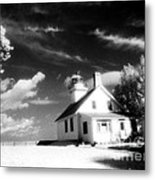Surreal Black White Infrared Black Sky Lighthouse - Traverse City Michigan Mission Point Lighthouse Metal Print