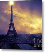 Surreal Fantasy Paris Eiffel Tower Sunset Sky Scene Metal Print by Kathy Fornal