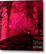 Surreal Fantasy Red Nature Trees And Birds Metal Print by Kathy Fornal
