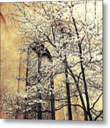 Surreal Gothic Church Window With Fall Tree Metal Print by Kathy Fornal