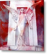 Surreal Impressionistic Red White Angel Art  Metal Print