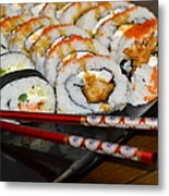 Sushi And Chopsticks Metal Print