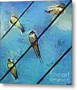 Swallows Goes To South Metal Print
