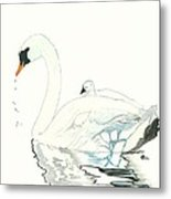 Swan And Her Baby Metal Print