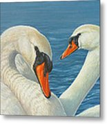 Swans In Love Metal Print