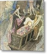 Sweetly Singing Round About They Bed Metal Print by Warwick Goble