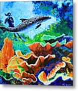 Swimming With The Dolphins Metal Print