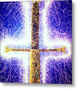 Sword With Sparks Metal Print