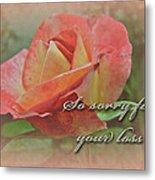 Sympathy Greeting Card - Peach Rose Metal Print