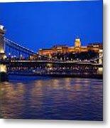 Szechenyi Bridge In Budapest Metal Print