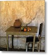 Table And Chairs Infront Of Weathered Metal Print
