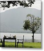 Table And Chairs Ready For Lunch Beside Metal Print