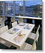 Table At An Upscale Cafe With A View Metal Print
