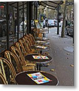 Tables Outside A Paris Bistro On An Autumn Day Metal Print
