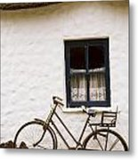Tahtched Cottage And Bike Metal Print