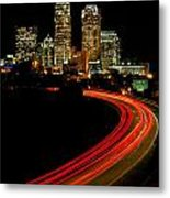 Taillights Toward Charlotte Skyline Metal Print