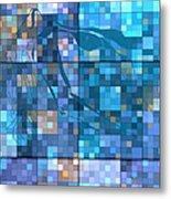 Take Me Geometric Blue Metal Print