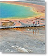 Taking A Stroll At Yellowstone's Grand Prismatic Metal Print by Bruce Gourley