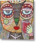 Talavera Feather Owl Drinking Red Wine S Metal Print