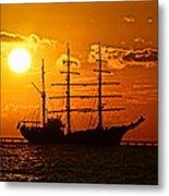 Tall Ship At Sunset Metal Print