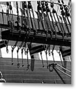 Tall Ship Canons Black And White Metal Print