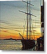 Tall Ship In Manhattan Metal Print