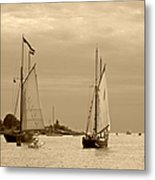 Tall Ships Sailing In Sepia Metal Print